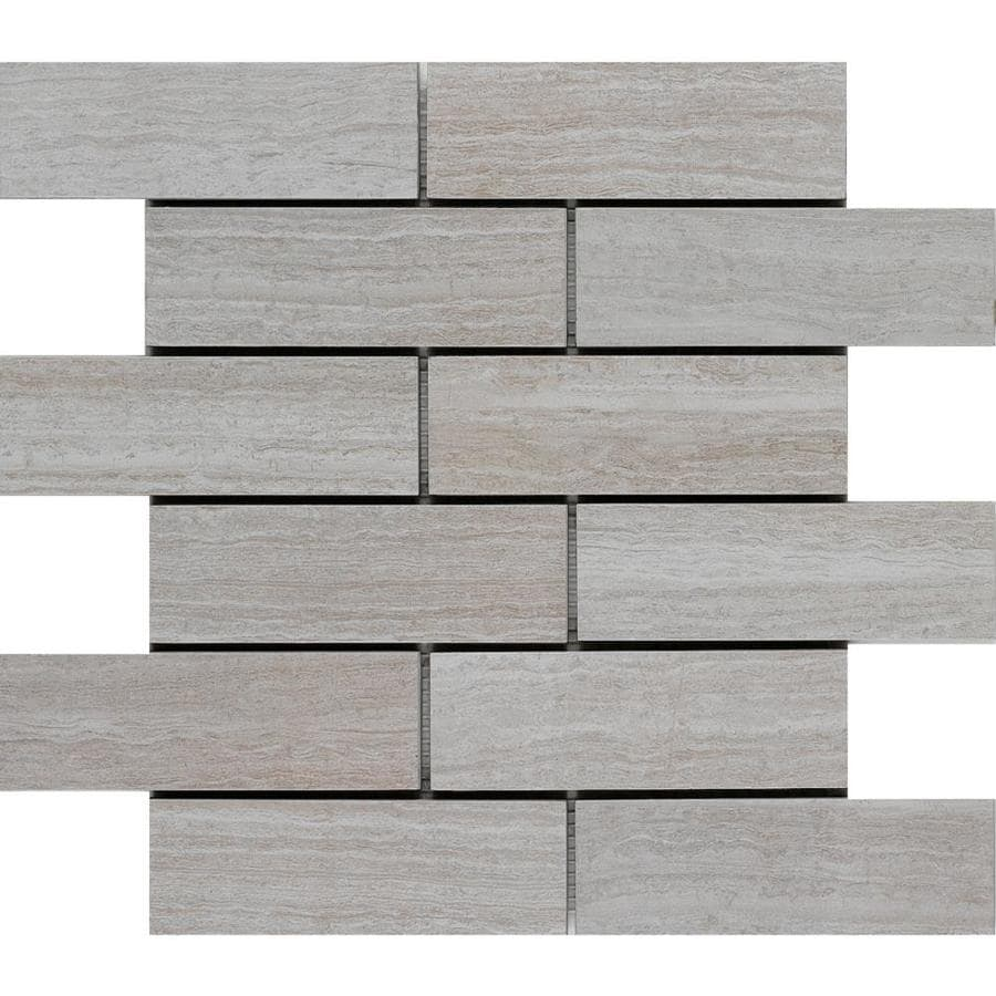 Shop Style Selections Leonia Silver Brick Mosaic Porcelain Subway - 6 x 12 white porcelain tile