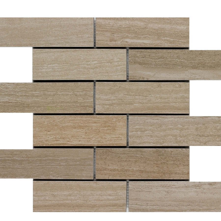 Style selections leonia sand 12 in x 12 in porcelain brick mosaic subway tile common 12 in x 12 in actual 11 75 in x 11 75 in