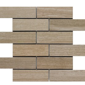 Style Selections Leonia Sand 12-in x 12-in Porcelain Brick Mosaic Subway Tile (Common: 12-in x 12-in; Actual: 11.75-in x 11.75-in)