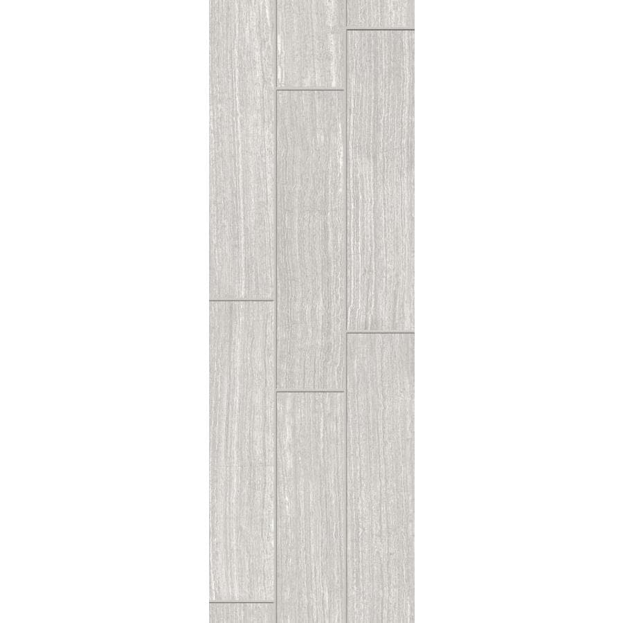 Style Selections Leonia Silver Porcelain Floor and Wall Tile (Common: 6-in x 24-in; Actual: 5.75-in x 23.75-in)