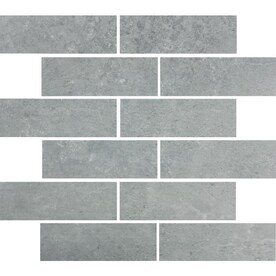 Style Selections Skyros Gray 12-in x 12-in Glazed Porcelain Brick Mosaic Tile