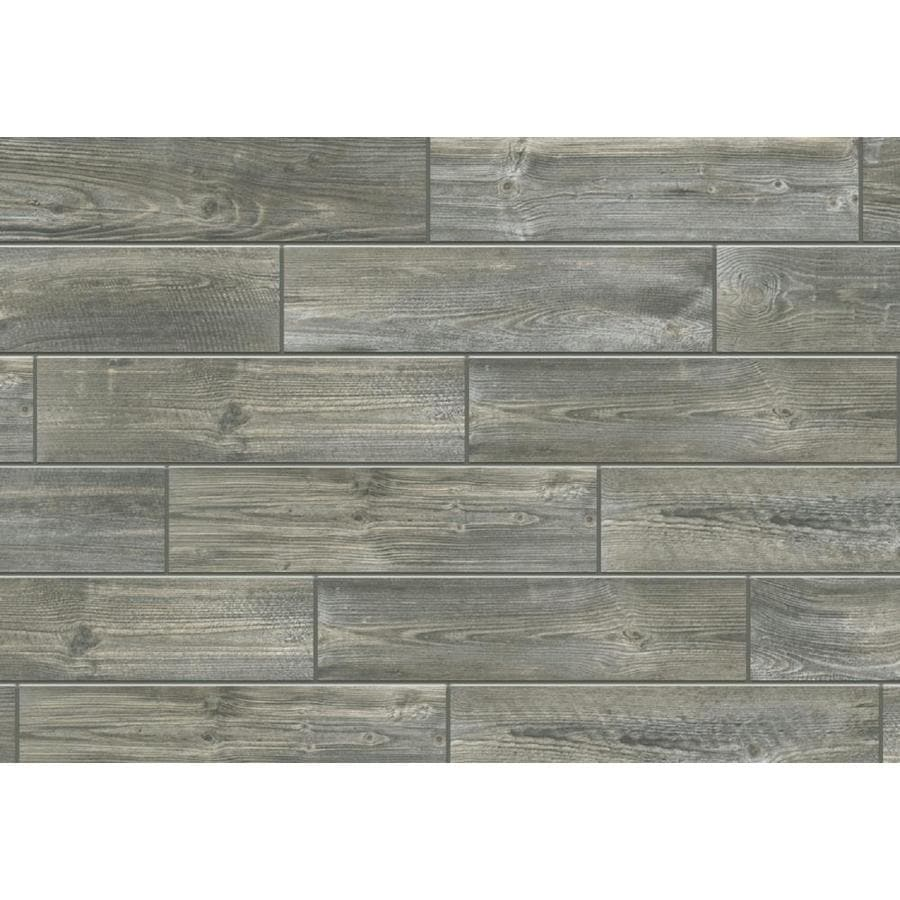 Shop tile at lowes creekwood smoke wood look porcelain floor and wall tile common 6 in x dailygadgetfo Gallery