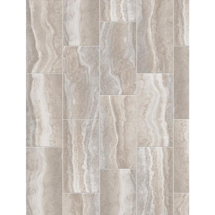 Shop Style Selections Alabaster Grey Porcelain Floor And