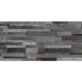 Style Selections Eastport Charcoal 8-in x 48-in Porcelain Wood Look Floor and Wall Tile (Common: 8-in x 48-in; Actual: 7.75-in x 47.75-in)