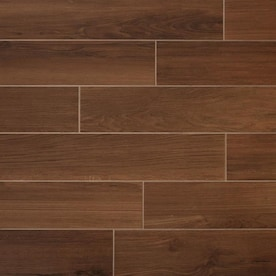 TRUE PORCELAIN CO. Shenandoah Mahogany 6-in x 36-in Glazed Porcelain Wood Look Tile