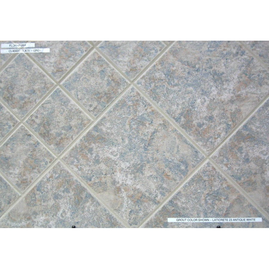 Shop surface source 12 in x 12 in ceramic slate grey glazed porcelain floor tile actuals 12 in - Lowes floor tiles porcelain ...