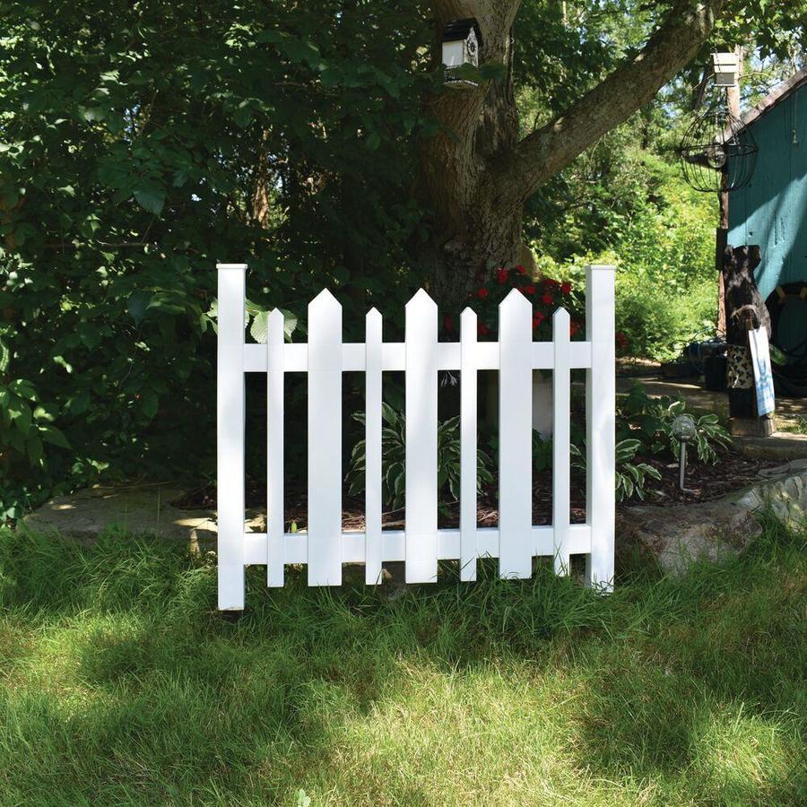 Gatehouse (Common: 3-ft x 3-ft; Actual: 2.5-ft x 3.19-ft) White Vinyl Decorative Metal Fence Panel