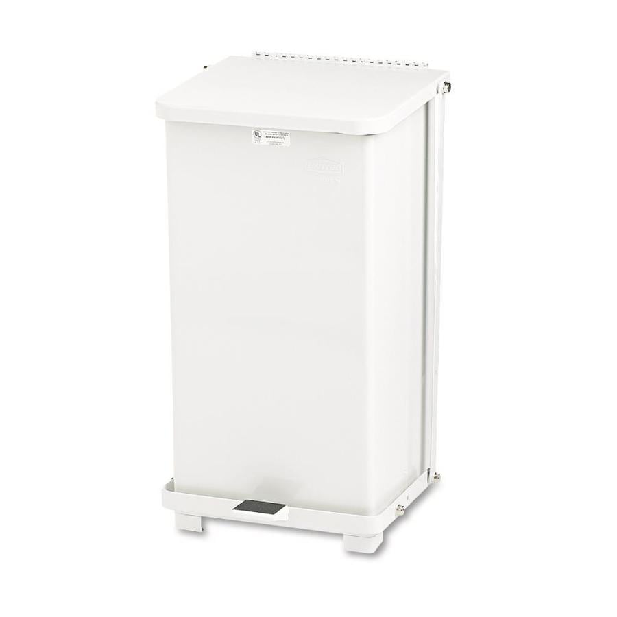 Rubbermaid Commercial Products Defenders Square Step-On 12-Gallon White Steel   Touchless Trash Can with Lid