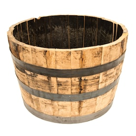 Real Wood Products 25.5-in W x 17.5-in H Rustic/Weathered Oak Wood Rustic Barrel