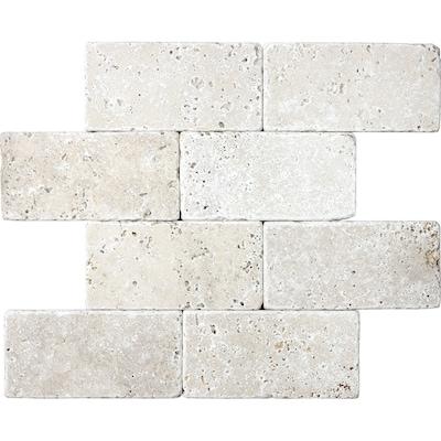 8 Pack Chiaro Tumbled Travertine 3 In X 6 Subway Tile Common Actual 5 9 2 95