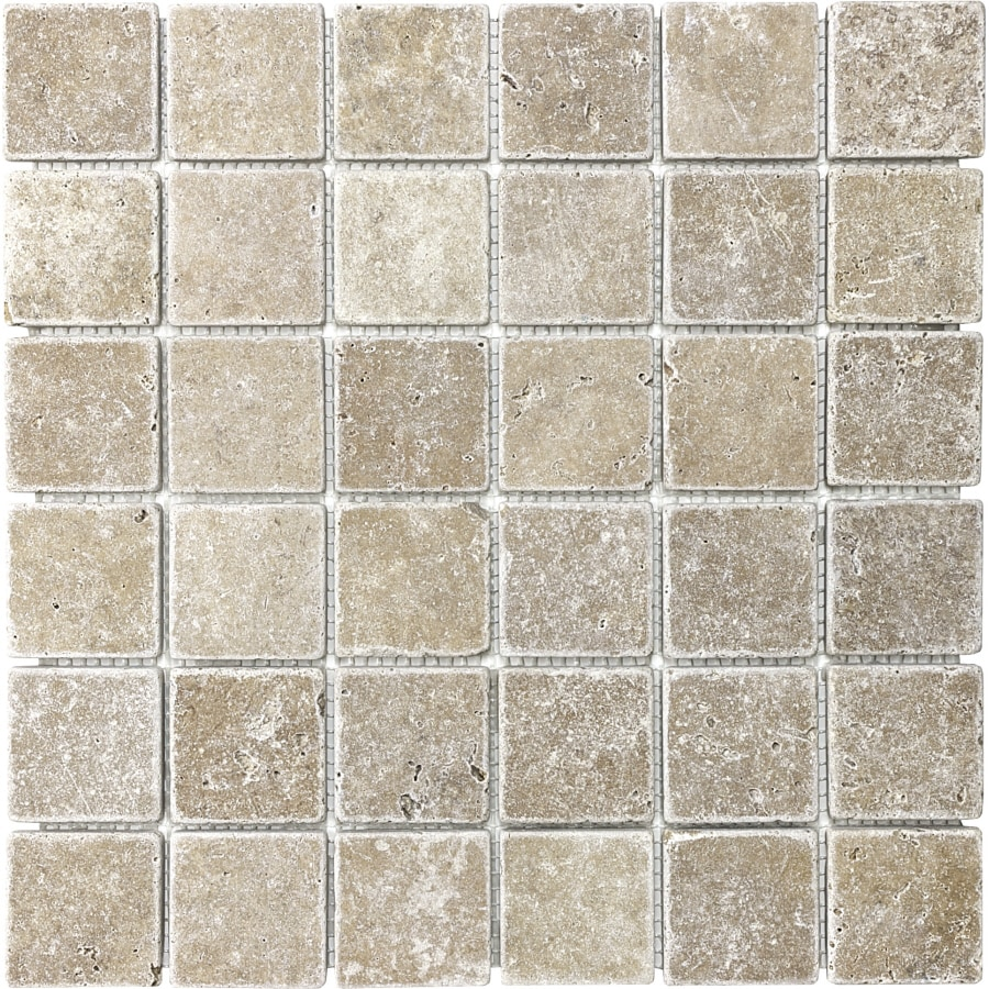 Shop 12-in x 12-in Noce Tumbled Marble Natural Stone Mosaic Square ...