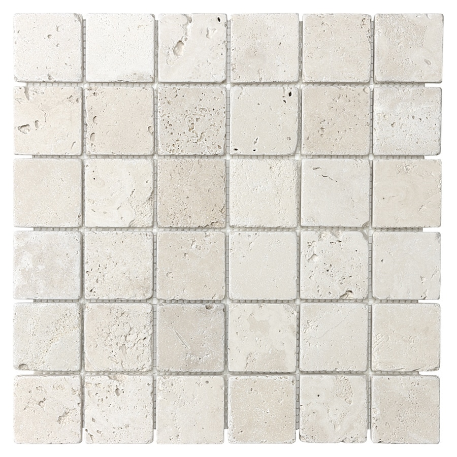 chiaro tumbled marble natural stone mosaic square wall tile common 12in x