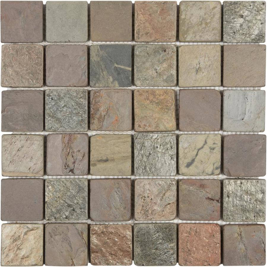 Anatolia Tile Multi Color Tumbled Uniform Squares Mosaic Natural Stone Slate Wall Tile (Common: 12-in x 12-in; Actual: 11.73-in x 11.73-in)