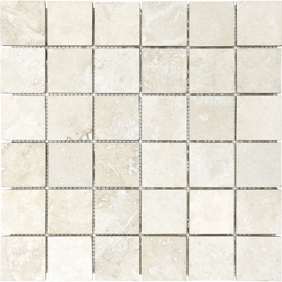Filled and Honed Travertine Natural Stone Mosaic Square Wall Tile (Common: 12-in x 12-in; Actual: 12-in x 12-in)
