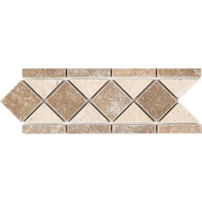 Noce And Chiaro Travertine Listello Tile Common 4 In X 12 Actual 13 11 29