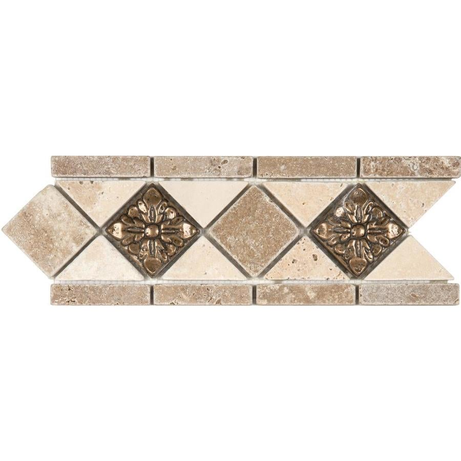 Anatolia Tile Noce And Chiaro With Metal Travertine Listello Common 4 In