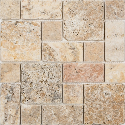 Scabos 12 In X Mixed Pattern Mosaic Travertine Wall Tile Common Actual
