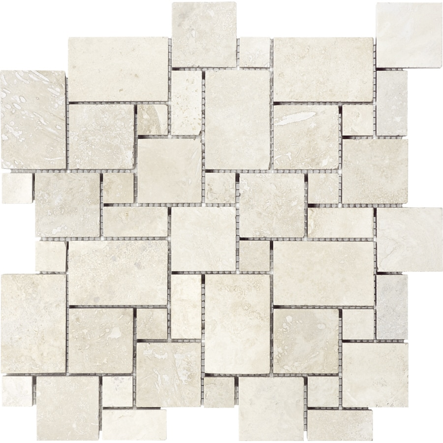 chiaro filled and honed natural stone mosaic versailles wall tile common 12in