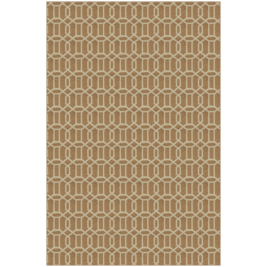 Rich Tan and White Rectangular Indoor Woven Area Rug (Common: 5 x 7; Actual: 58-in W x 88-in L)