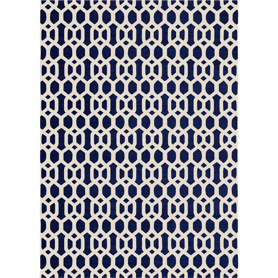 Ruggable Washable Navy Blue Rectangular Indoor/Outdoor