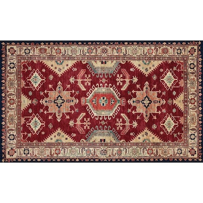 Washable Ruby Rectangular Indoor Outdoor Handcrafted Oriental Throw Rug Common 3 X 5 Actual Ft W L