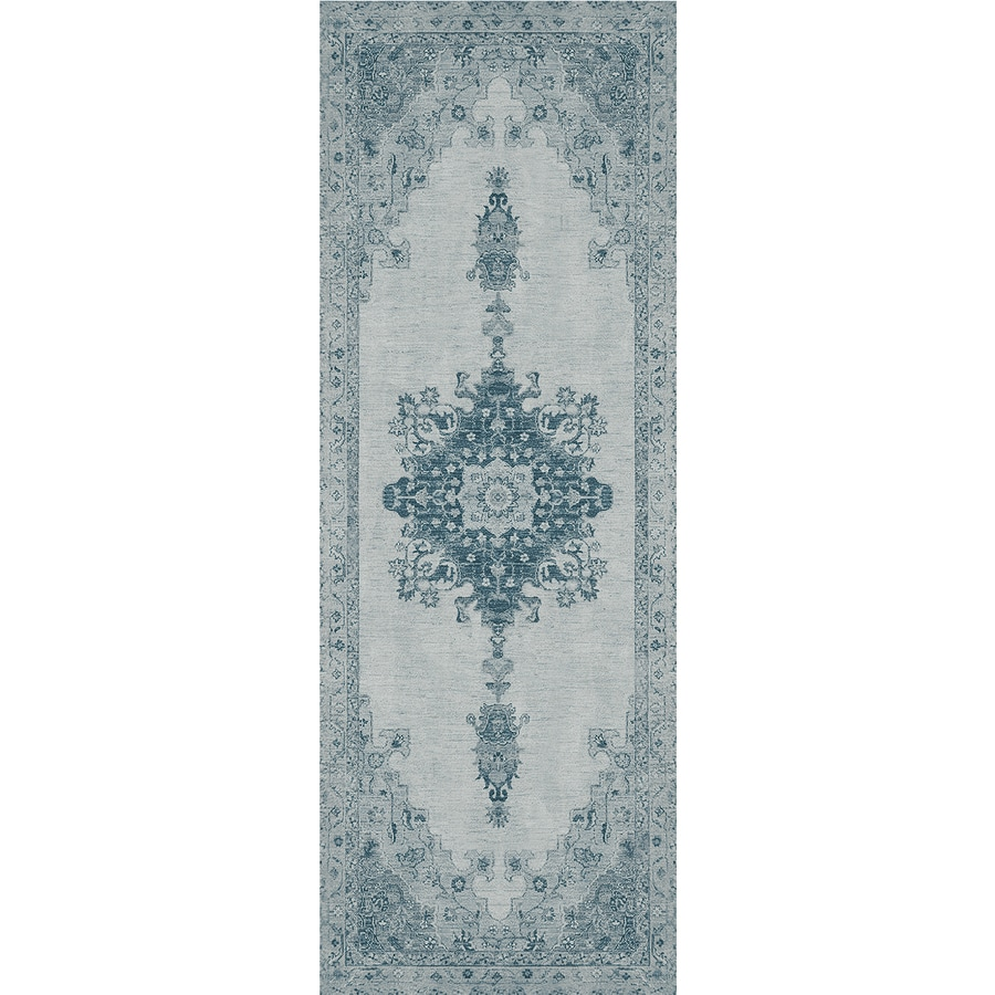 Ruggable Washable Blue Rectangular Indoor/Outdoor Machine-Made Distressed Runner (Common: 2 x 7; Actual: 7-ft W x 2.5-ft L x 0-ft Dia)