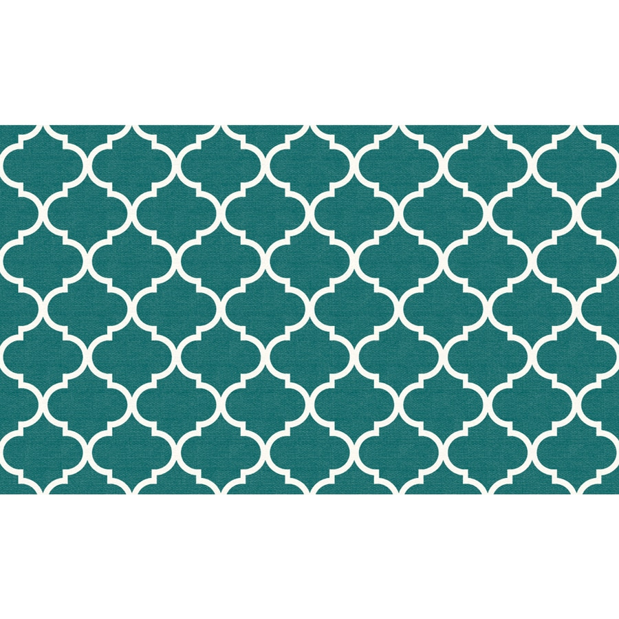 Ruggable Washable Teal Rectangular Indoor/Outdoor Machine-Made Moroccan Throw Rug (Common: 3 x 5; Actual: 5-ft W x 3-ft L x 0-ft Dia)