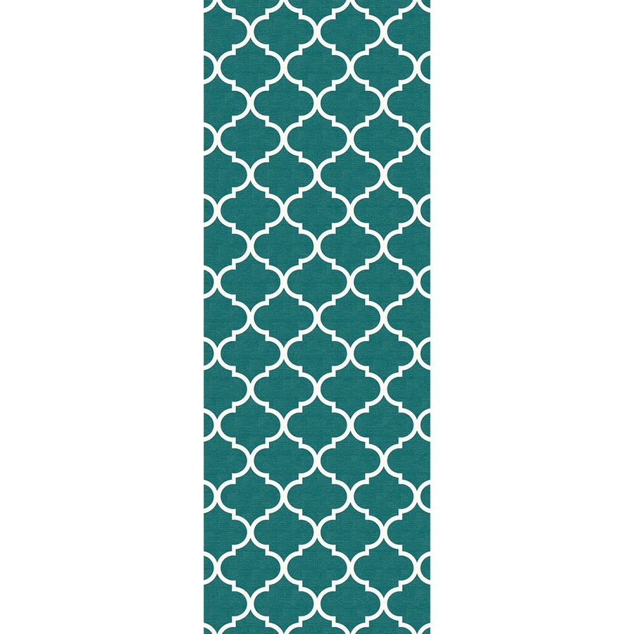Ruggable Washable Teal Rectangular Indoor/Outdoor Machine-Made Moroccan Runner (Common: 2 x 7; Actual: 7-ft W x 2.5-ft L x 0-ft Dia)