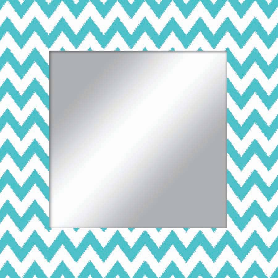 Shop style selections teal white square framed wall mirror for Teal framed mirror