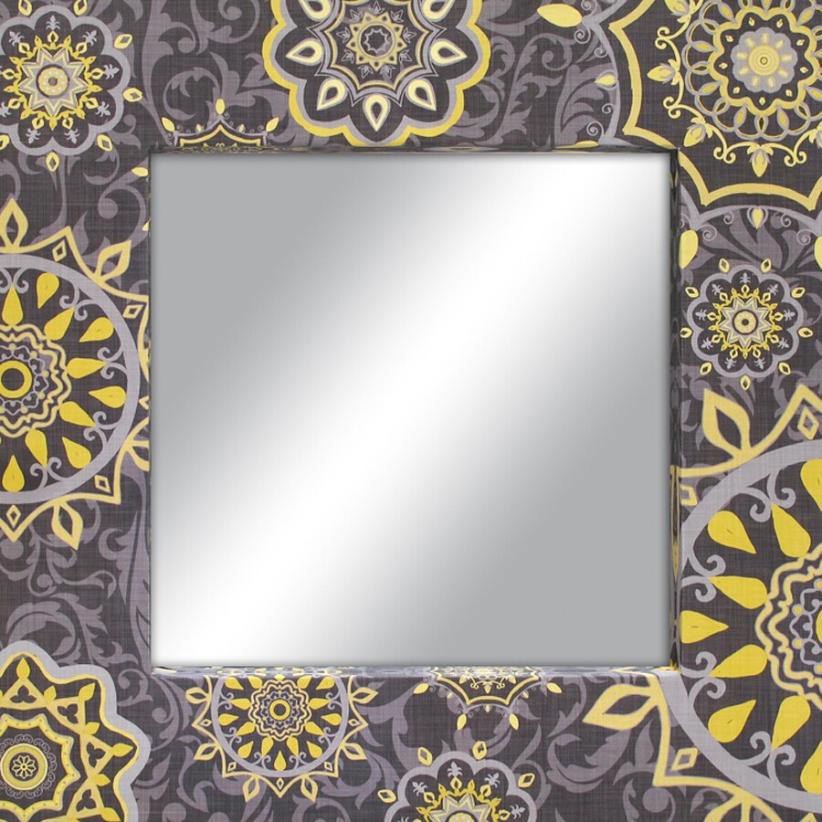 Shop Style Selections Gray/Yellow Square Framed Wall Mirror at Lowes.com
