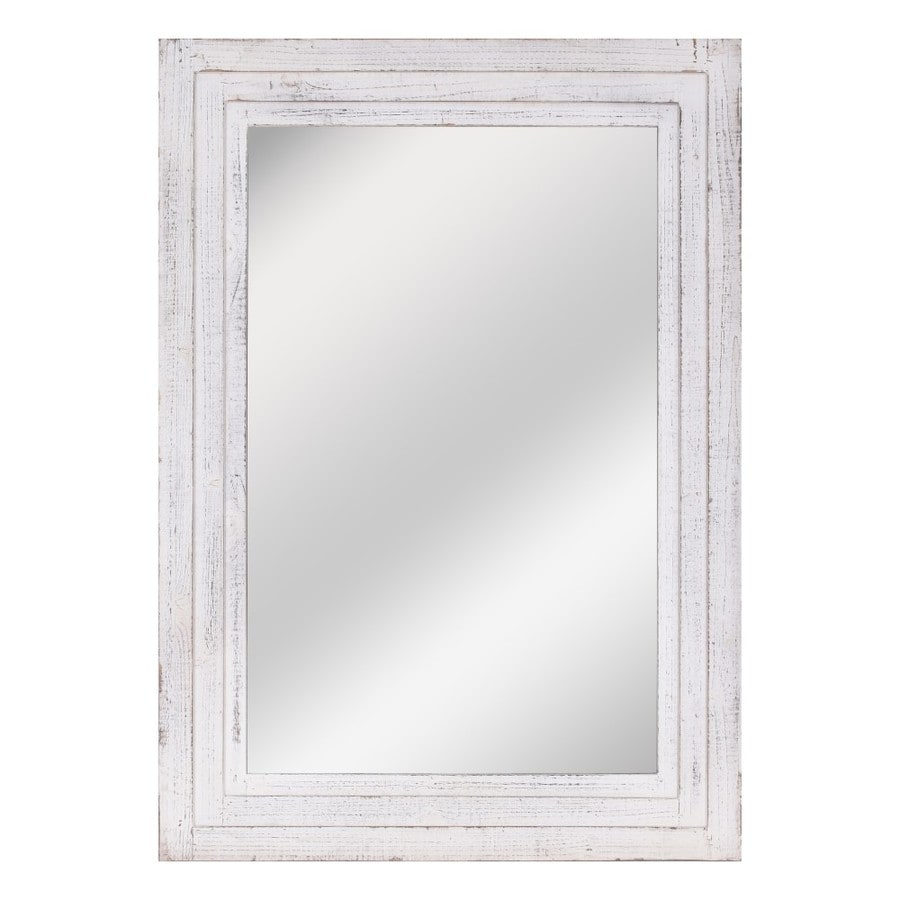 Distressed White Framed Wall Mirror
