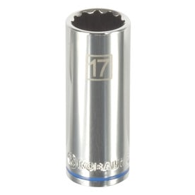 Kobalt Metric 3/8-in Drive 12-point 17mm Deep Socket