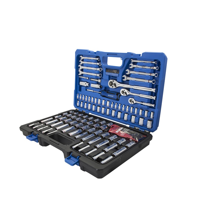 shop kobalt 138 piece standard sae and metric mechanic 39 s tool set with. Black Bedroom Furniture Sets. Home Design Ideas