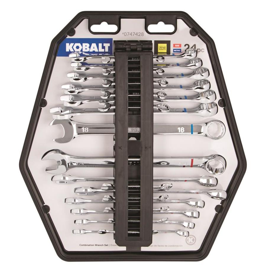 Kobalt 24 Piece Standard Polished Chrome Standard  SAE  and Metric  Combination Wrench Set. Shop Wrench Sets at Lowes com