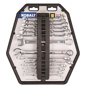 Kobalt 24-Piece Polished Chrome Standard (SAE) And Metric Combination Wrench Set