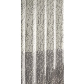 Allen Roth Polyester Gray Patterneded Shower Curtain 70 In X 72