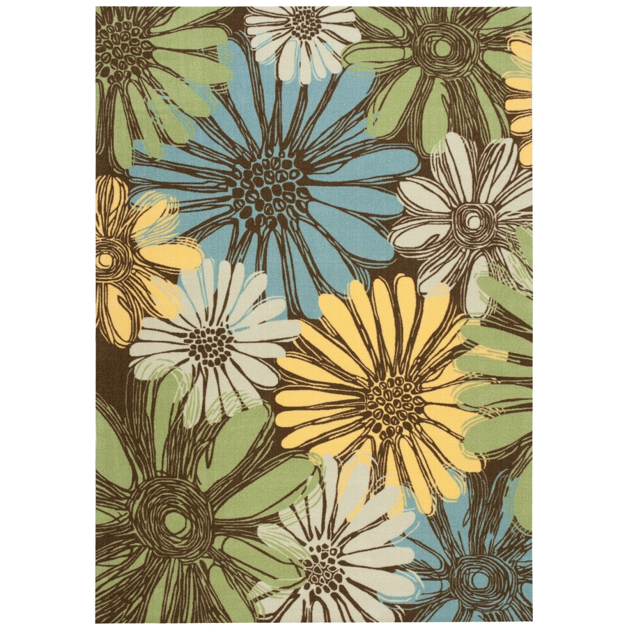 Home and Garden Home and Garden Brown Rectangular Indoor/Outdoor Machine-Made Area Rug (Common: 5 x 7; Actual: 63-in W x 89-in L)