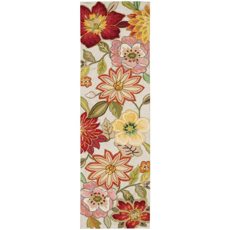 Nourison Fantasy Ivory Rectangular Indoor Handcrafted Area Rug (Common: 2 x 7; Actual: 2.25-ft W x 8-ft L x 0.5-ft dia)