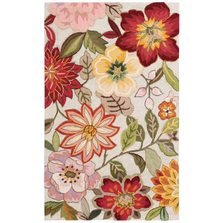 Nourison Fantasy Ivory Indoor Handcrafted Area Rug (Common: 3 x 5; Actual: 3.5-ft W x 5.5-ft L)
