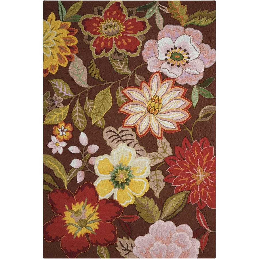 Nourison Fantasy Chocolate Rectangular Indoor Handcrafted Area Rug (Common: 5 x 7; Actual: 5-ft W x 7.5-ft L x 0.5-ft dia)