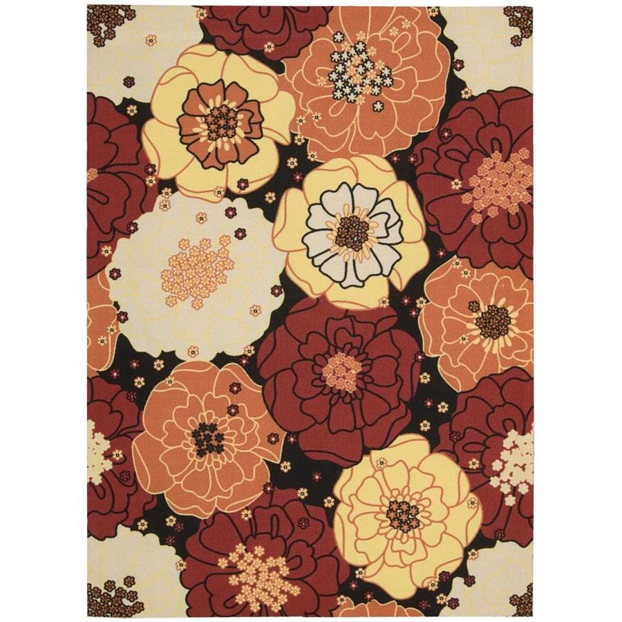 Nourison Home And Garden Black Indoor/Outdoor Area Rug (Common: 10 x 14; Actual: 10-ft W x 13-ft L x 0.25-ft dia)