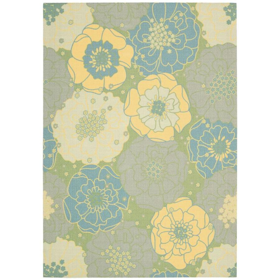 Nourison Home and Garden Green Rectangular Indoor/Outdoor Machine-Made Nature Area Rug (Common: 10 x 14; Actual: 10-ft W x 13-ft L)