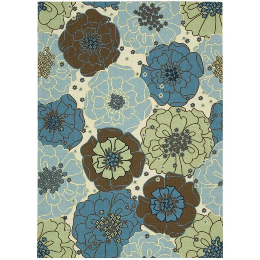 Nourison Home and Garden Light Blue Rectangular Indoor/Outdoor Machine-Made Nature Area Rug (Common: 10 x 14; Actual: 10-ft W x 13-ft L)