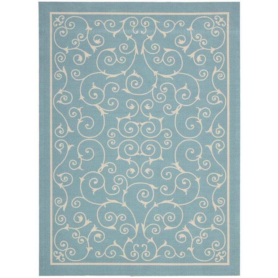 Home and Garden Home and Garden Light Blue Rectangular Indoor/Outdoor Machine-Made Novelty Area Rug (Common: 5 x 7; Actual: 5.3-ft W x 7.5-ft L)