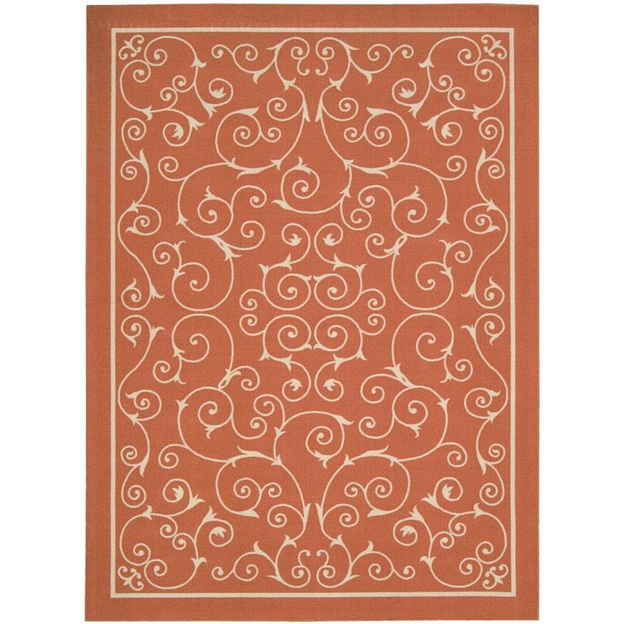 Home and Garden Home and Garden Orange Rectangular Indoor/Outdoor Machine-Made Novelty Area Rug (Common: 5 x 7; Actual: 5.3-ft W x 7.5-ft L)