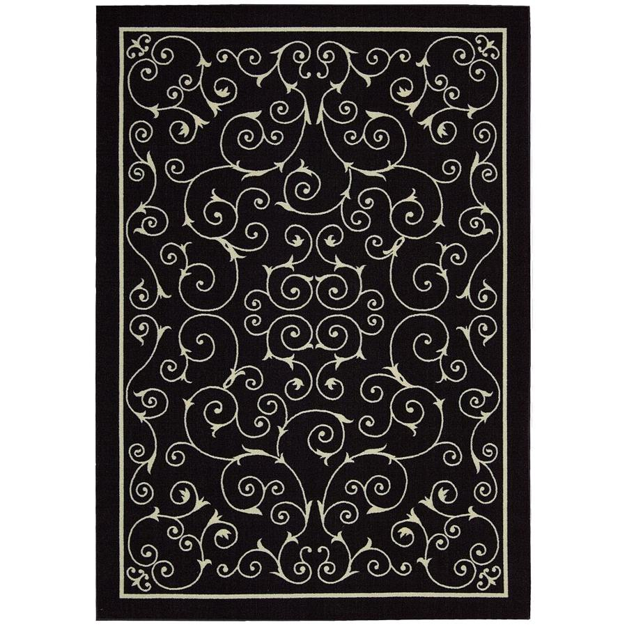 Home and Garden Home and Garden Black Rectangular Indoor/Outdoor Machine-Made Area Rug (Common: 7 x 10; Actual: 93-in W x 130-in L)