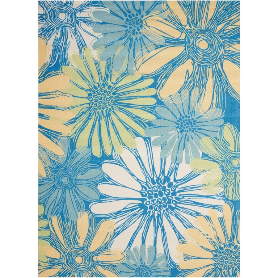 Nourison Home and Garden Blue Rectangular Indoor/Outdoor Machine-Made Nature Area Rug (Common: 10 x 14; Actual: 10-ft W x 13-ft L)