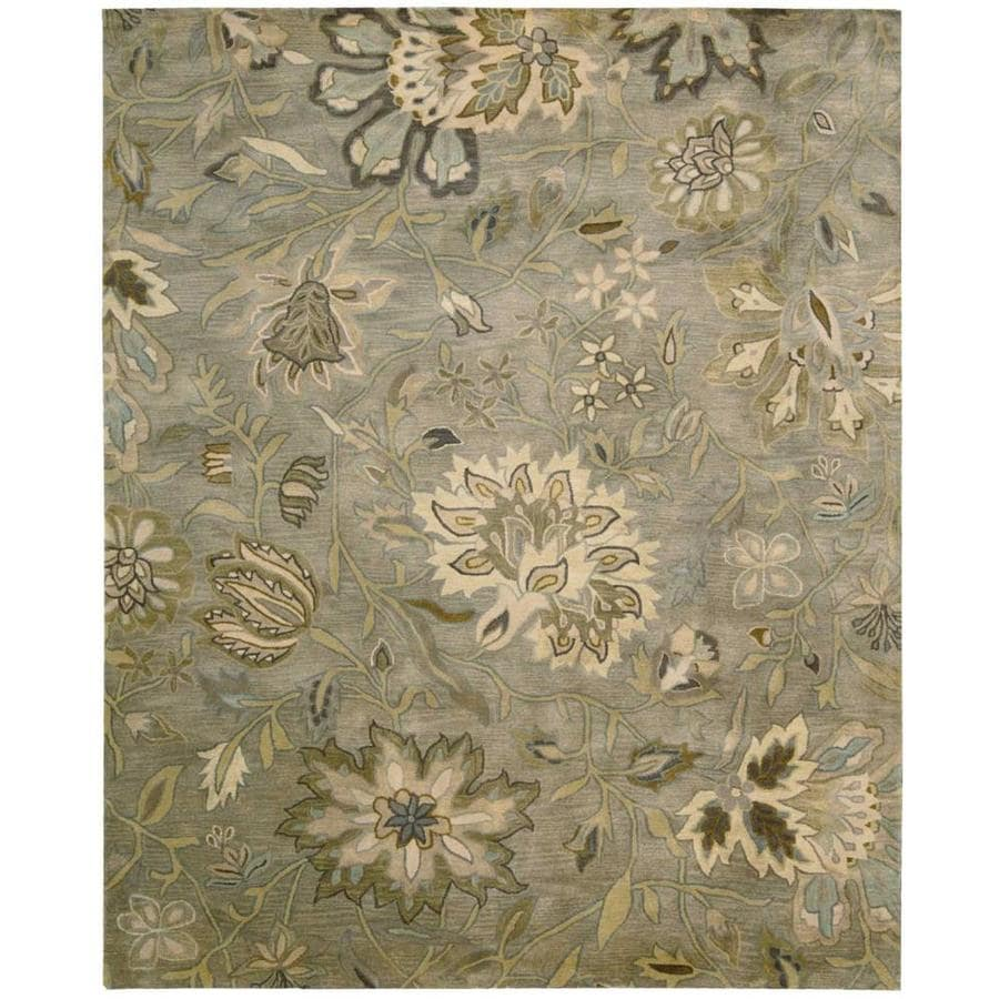 Nourison Jaipur Gray Rectangular Indoor Handcrafted Area Rug (Common: 5 x 7; Actual: 5.5-ft W x 8.5-ft L x 0.75-ft dia)