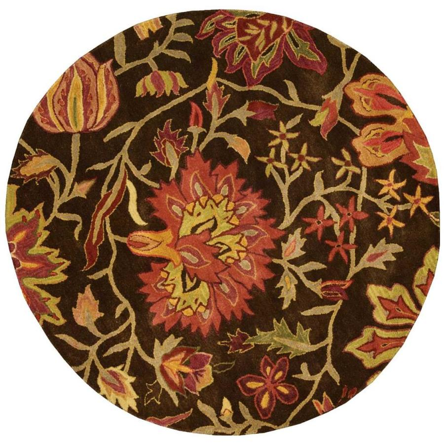 Nourison Jaipur Chocolate Round Indoor Handcrafted Area Rug (Common: 8 x 8; Actual: 8-ft W x 8-ft L x 0.75-ft dia)