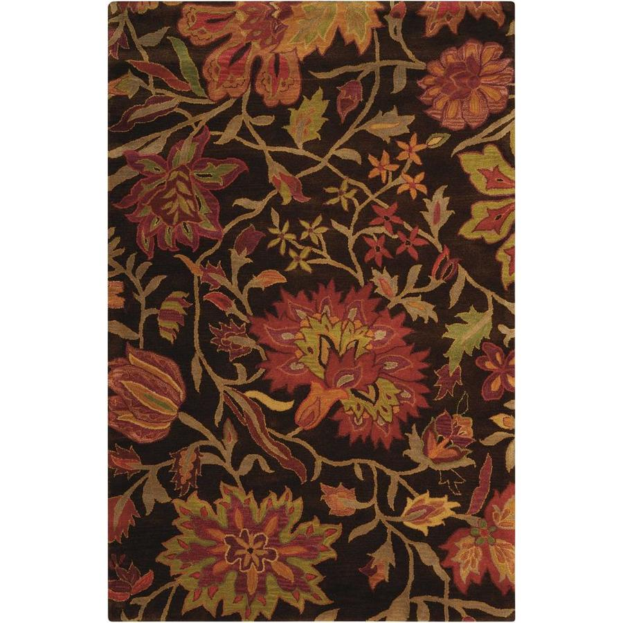 Nourison Jaipur Chocolate Rectangular Indoor Handcrafted Area Rug (Common: 5 x 7; Actual: 5.5-ft W x 8.5-ft L x 0.75-ft dia)